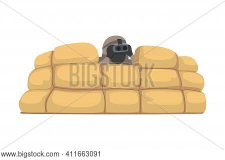 Man As Military Special Armed Force In Uniform Looking In Binocular Watching Enemy Vector Illustrati