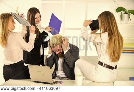 Relations In Female Team. Psychological Pressure. Flirting Secretary And Manager. Flirting With Boss