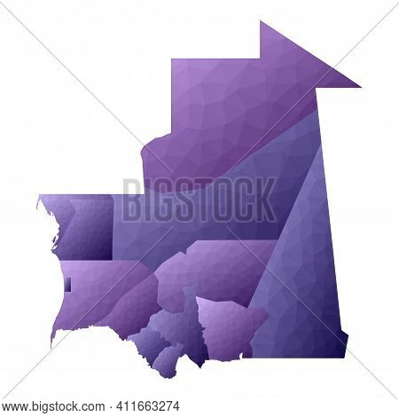 Mauritania Map. Geometric Style Country Outline. Bizarre Violet Vector Illustration.