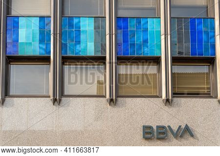 Palma De Mallorca, Spain; March 04 2021: Main Facade Of The Bilbao Vizcaya Argentaria Bank (bbva) In