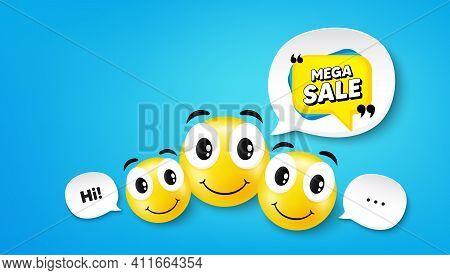 Mega Sale Bubble. Smile Face With Speech Bubble. Discount Banner Shape. Coupon Sticker Icon. Smile F
