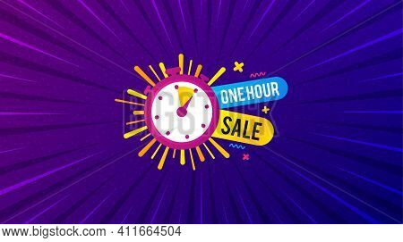 One Hour Sale Banner. Purple Background With Offer Message. Discount Sticker Shape. Special Offer Ti