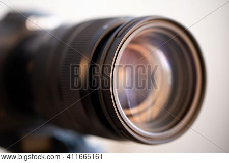 Close Up Lens Of A Professional Lens For A Digital Camera. The Concept Of Professional Equipment For