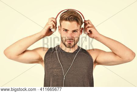 Listen Music For Motivation And Inspiration. Audio Quality. Modern Earphones Concept. Audio Educatio