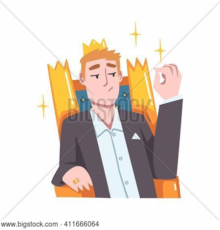 Rich And Wealthy Man Character Sitting On Golden Throne With Crown On His Head At Half Length Vector