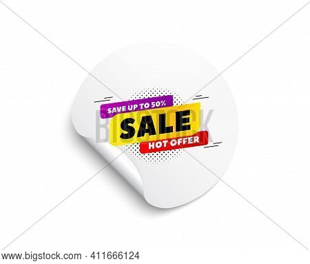 Sale 50 Percent Off Banner. Circle Sticker With Offer Banner. Discount Sticker Shape. Hot Offer Icon
