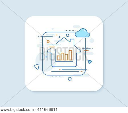 Histogram Column Chart Line Icon. Abstract Vector Button. Financial Graph Sign. Stock Exchange Symbo