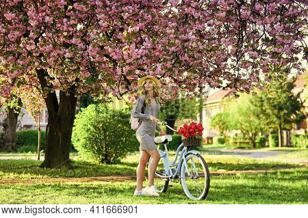 Excursion To Garden. Athletic Woman Ride Retro Bicycle. Travel By Bike. Weekend Concept. Spring Holi