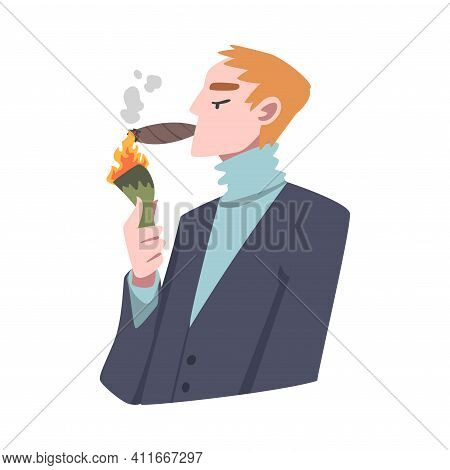 Rich And Wealthy Man Character Lighting Cigar From Dollar Banknote At Half Length Vector Illustratio