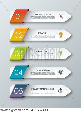 Arrow Infographic Template. 5 Steps. Origami Style. Vector Banner