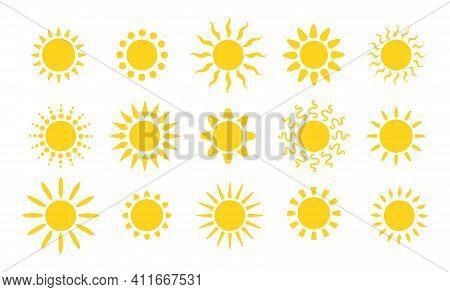 Summer Flat Sun Logo. Yellow Suns Circles, Bright Natural Lighting Objects. Heating Sunshine, Isolat