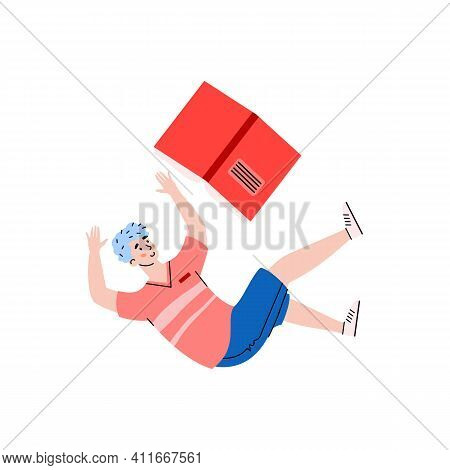 Young Man Cartoon Character With Book Floating In Zero Gravity, Flat Vector Illustration Isolated On