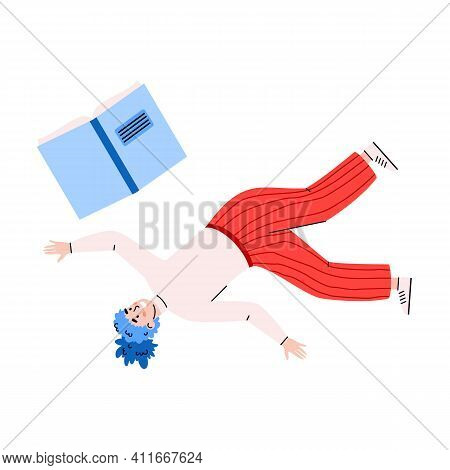 Girl Floating Or Falling In Air With Opened Book. Female Character Inspired By Love To Reading Liter