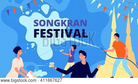 Songkran Festival. Asia Thailand Fest, Happy Girl With Water Bowl. People Celebration, Thai Person P