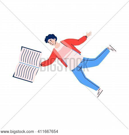 Young Man Floating In The Air With An Open Book, Cartoon Vector Illustration Isolated On White Backg