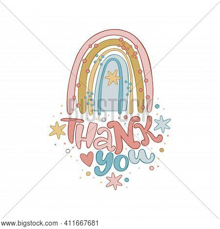 Thank You. Cartoon Cute Rainbow. Isolated Vector Object On White Background. Lettering Poster. Holid