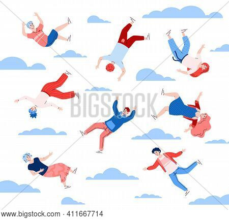 People Floating And In The Sky Among Clouds, Cartoon Vector Illustration On White Background. Young