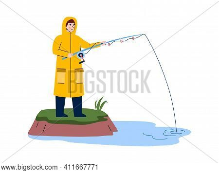 Fisherman In Raincoat Fishing From River Bank With Fish Rod, Cartoon Vector Illustration Isolated On