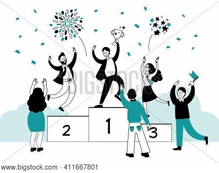 Winner Ranking Concept. Business Results, Best Performance Or Campaign Champion. Award Or Trophy, Pe