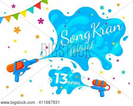 Songkran Thailand Banner. Water Festival Party, Cartoon Liquid Splash On Summer Fest. Thai Culture,