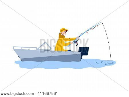 Man Character Catches Fish From Motor Boat, Cartoon Flat Vector Illustration Isolated On White Backg