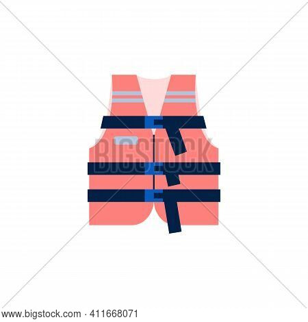 Red Life Jacket Icon. Vest For Rescue And Safety People In Water Or Fluorescent Clothing For Worker.