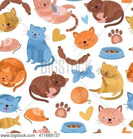 Kitten Pattern. Cartoon Cat, Cute Animal Seamless Background. Doodle Fun Pets Print, Childish Or Vet