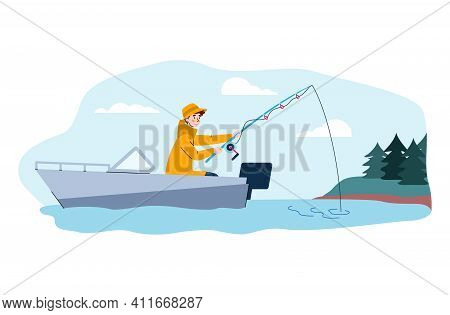 Young Man In Raincoat Fishing From Boat With Fish Rod, Cartoon Vector Illustration Isolated On White