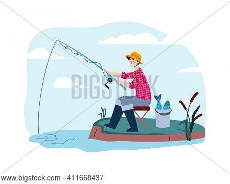 A Fisherman Catch Fish Sitting On The Shore. Man Holds A Fishing Rod In The Water And Waits For The