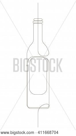 One Continuous Drawn Line Of The Wine Bottle. Drawn From The Hand A Picture Of The Silhouette. Line