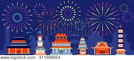 Japanese Festival Firework. Japan Festive Fireworks, Asian Summer Party Event. Traditional Chinese B