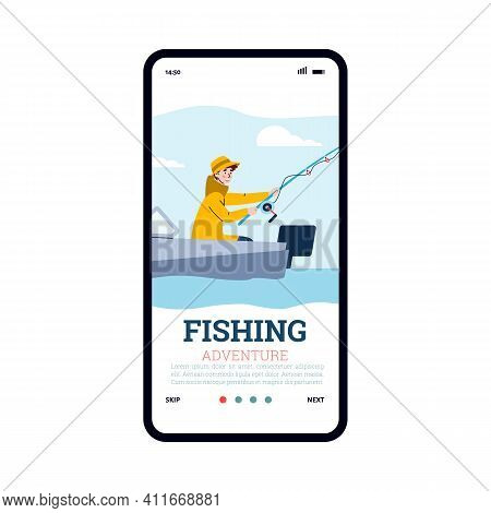 Fisherman In Yellow Raincoat Catch Fish Sitting In Boat And Holding Fishing Rod In Water. Outdoor Ho