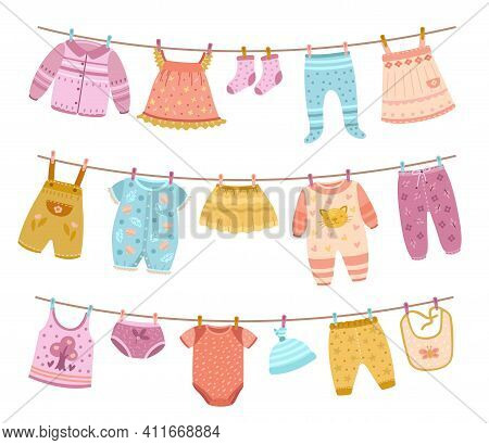 Clothes On Ropes. Clothesline, Kids Cloth Dry On Lines. Children Skirt Socks Shirt, Isolated Cartoon