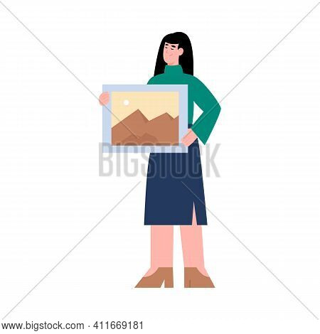 Woman Cartoon Character Holding Picture In Hands, Flat Vector Illustration Isolated On White Backgro