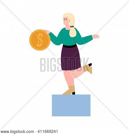 Cheerful Woman With Huge Coin In Hands, Cartoon Vector Illustration Isolated On White Background. Cr