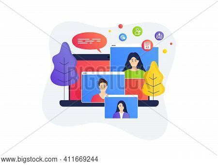 Vocabulary, Friends World And Refer Friend Icons Simple Set. Home Education Class. Online Course Ban
