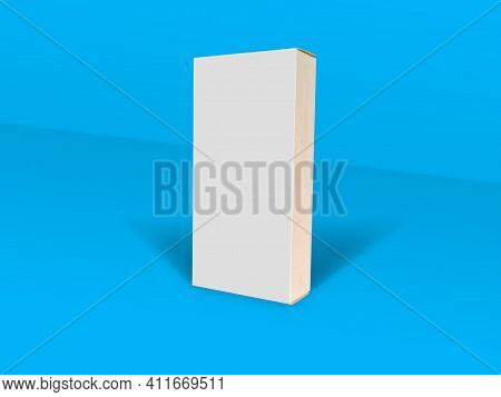 White Folding Cartons Isolated On Blue Color Background. Straight Tuck End. Paperboard Boxes Front S