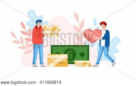 Volunteers Male Characters Donating Money, Cartoon Vector Illustration Isolated On White Background.