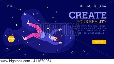 Inspired Freedom Or Love Young Man Floating In Space With Stars And Planets. Guy Flying In Imaginati