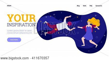 Website Banner Template On Inspiration And Creativity Topic With People Floating In The Air, Cartoon