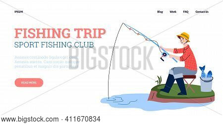 Website Layout For Fishing Trip Or Sport Fishing Club, Vector Cartoon Illustration. Landing Page Tem