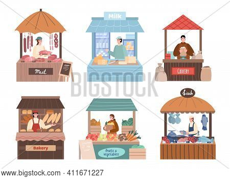 Set Of Local Farmers Characters Behind Stall Counters. Local Marketing Retail Business Owners In The