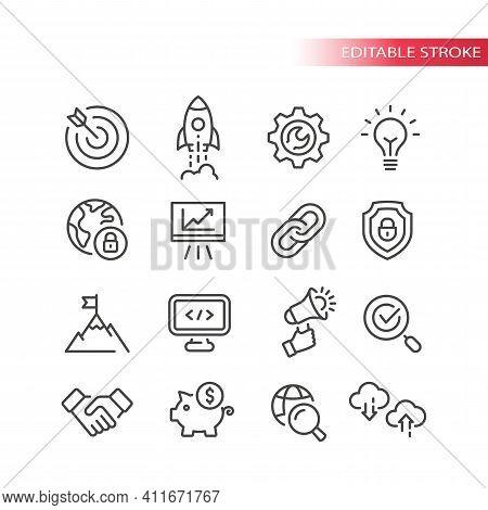 Seo Line Vector Icon Set. Search Engine Optimization, Website Symbols. Web Business Outline Icons, E