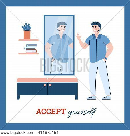 Accept Yourself Banner With Confident Self-satisfied Man In Front Of Mirror, Cartoon Vector Illustra