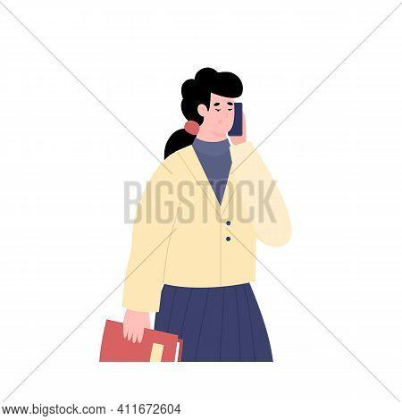 Portrait Of Businesswoman Talking On Mobile Phone. Work Conversation Or Business Negotiations Via Sm