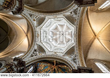 View Of The Ornate And Decorated Ceiling In The Cathedral Of Valencia