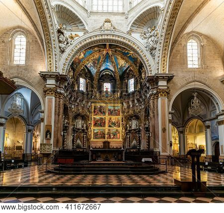 Interior View Of The Cathedral In Valencia Showing The Altar And Nave
