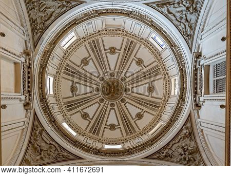 View Of The Cupola And Decorative Ceiling Of The San Francisco De Borja Chapel In The Valencia Cathe