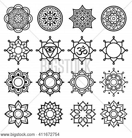 Mandala Geometric Vector Symbols, Simple Black And White Designs - Yoga, Zen, Mindfulness Concept