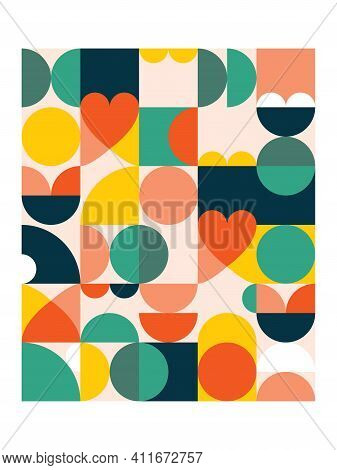Geometric Vector Poster Print In 18x24 Format - 60's And 70's Mid-century Modern Pattern With Circle